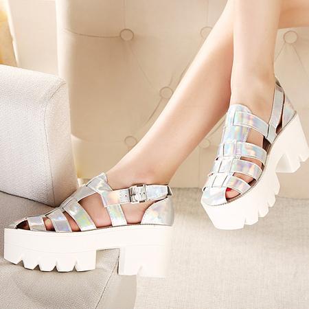 Sandálias PU Simples De Salto Alto Casual E Pesado