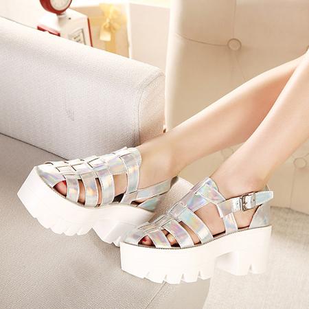 Casual Chunky High Heel Basic Silver PU Sandals