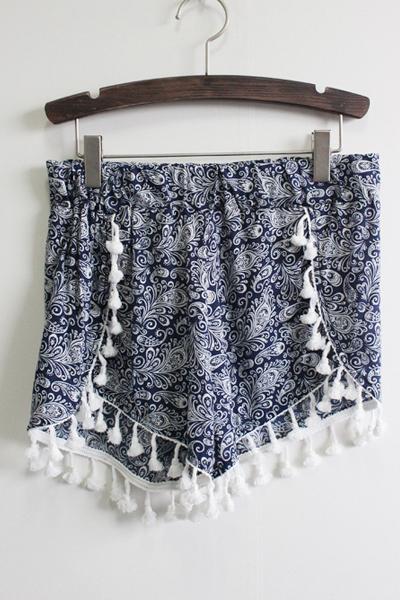 New Style Woman Striped Elastic Waist Mid Regular Blue Cotton Shorts