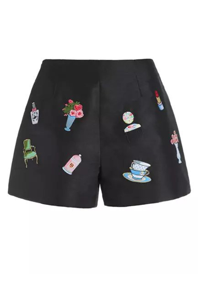 Fashion Mid-waist Cartoon Patterns Embroidered Black Cotton Blend Shorts