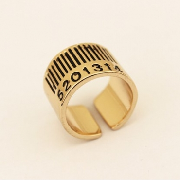 Fashion Arabic Numerals Plated Bronze Metal Ring