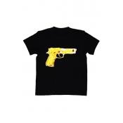 Free Style O Neck Short Sleeves Gun Print Black T-