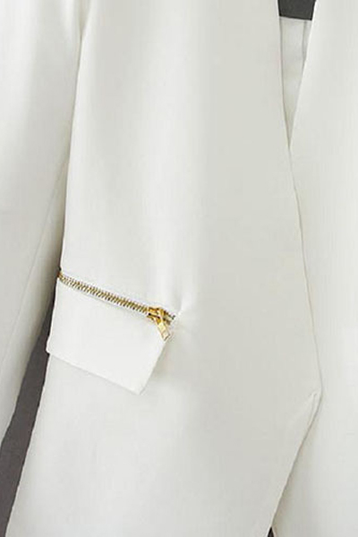New Style Long Sleeves Zippers Designed Pockets Solid White Cotton Blend Blazer