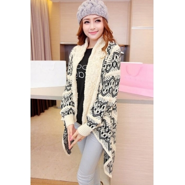 New Style Long Sleeves Geometric Patterns Print Beige Long Knitting Cardigan Sweater