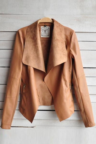 New Style Turndown Collar Long Sleeves Zipper Designed Pockets Brown PU Regular Leather Coat