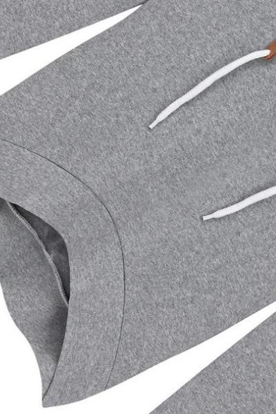 Cheap Casual European Style Long Sleeves Grey Regular Hooded Pullover+Asymmetrical Mini Sirt