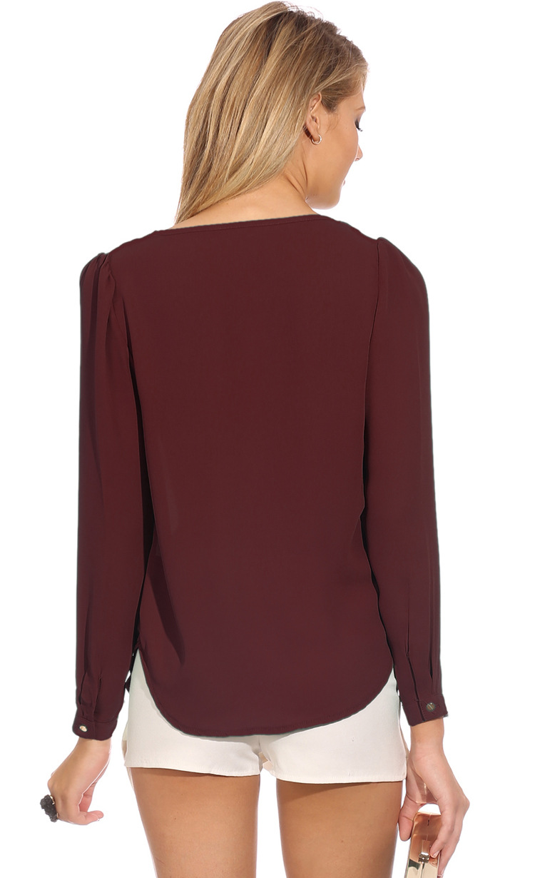 Cheap Fashion V Neck Long Sleeves Front Zipper Design Solid Wine Red Chiffon Shirt