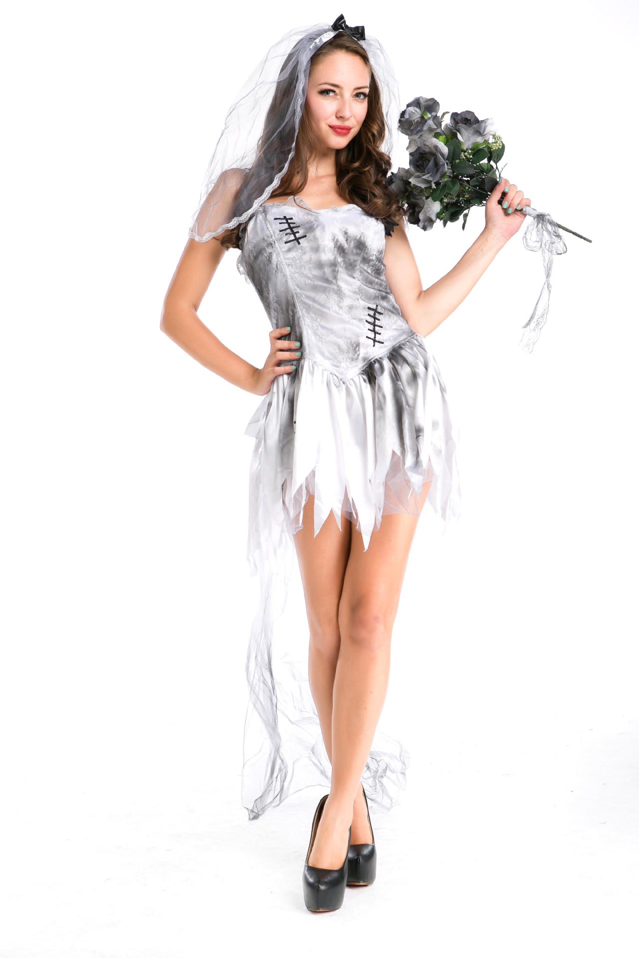Cheap Sexy Asymmetrical White Polyester Halloween Ghost ...