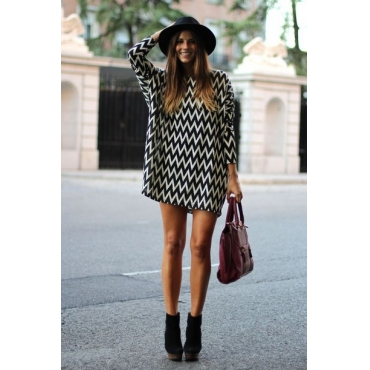 Cheap Fashion O Neck Long Sleeves Houndstooth Print Polyester A Line Mini Dress