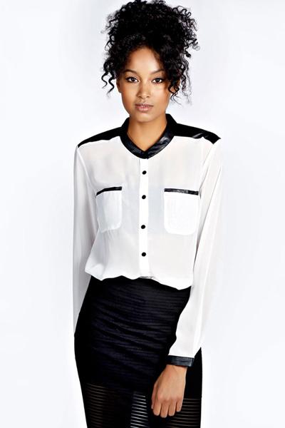 Cheap Fashion O Neck Long Sleeves Patchwork White Chiffon Shirt