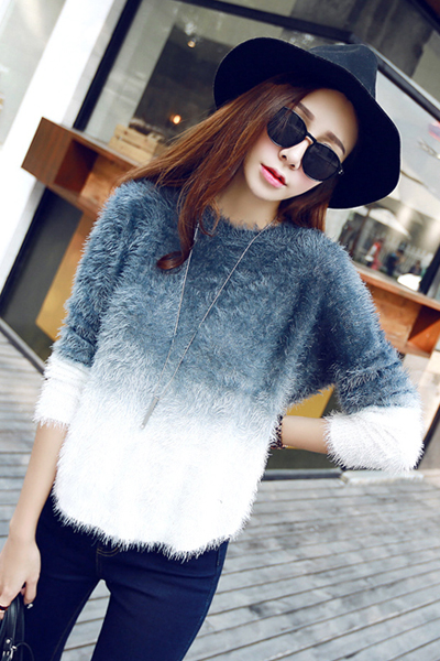 Cheap New Style O Neck Long Bat Sleeves Patchwork Indigo-blue Regular Pullover Sweater