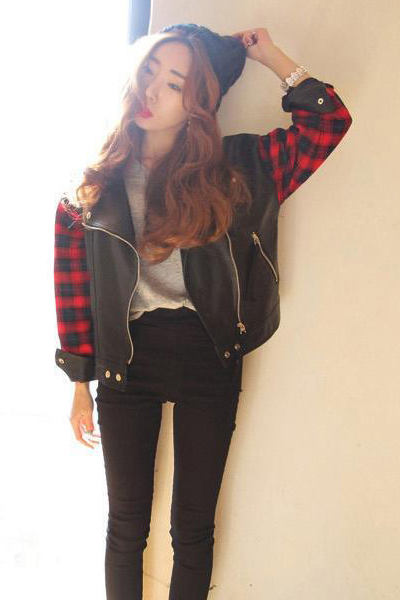 Cheap New Style O Neck Long Sleeves Zipper Design PU Patchwork Plaids Print Black Regular Jacket