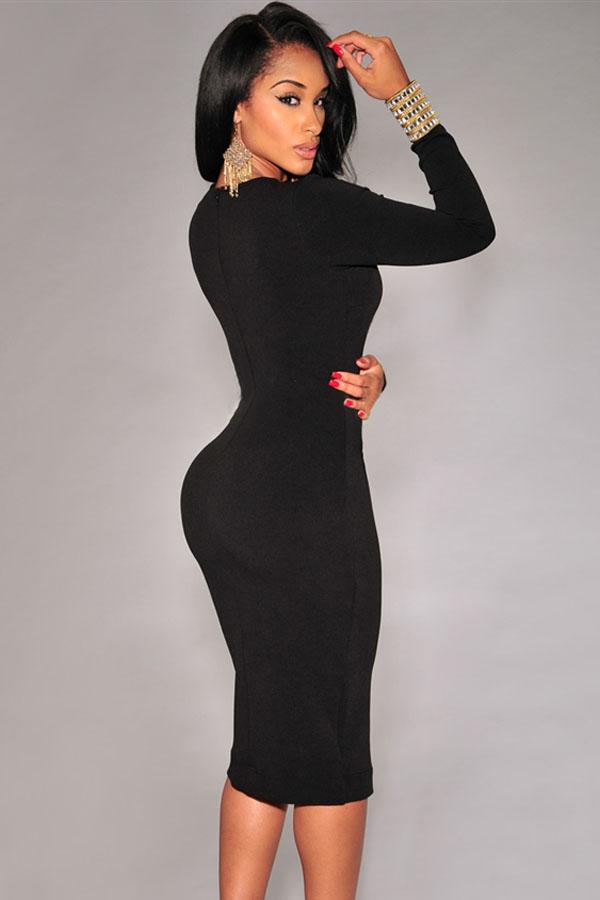 Length knee black dress sleeve bodycon long