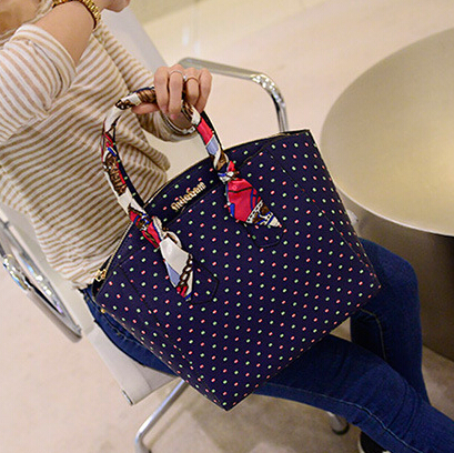 Cheap Fashion Zipper Design Polka Dots Print Blue PU Clutches Bag