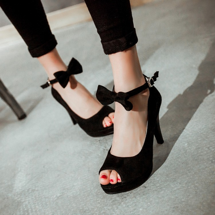 Cheap Vintage Peep Toe Stiletto Super High Heel Black Suede Ankle Strap Pumps