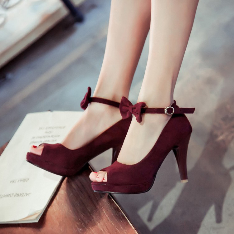 Cheap Vintage Peep Toe Stiletto Super High Heel Red Suede Ankle ...
