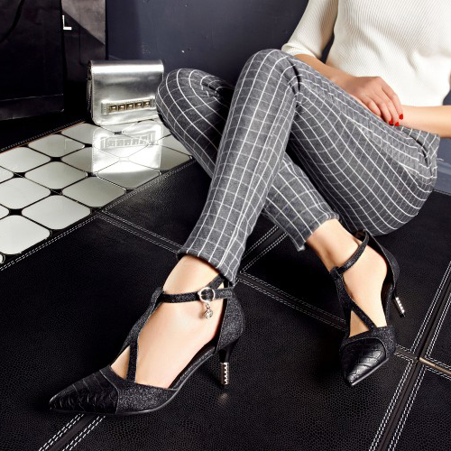 Cheap Fashion Pointed Closed Toe Patchwork Stiletto High Heel Black PU T Strap Pumps