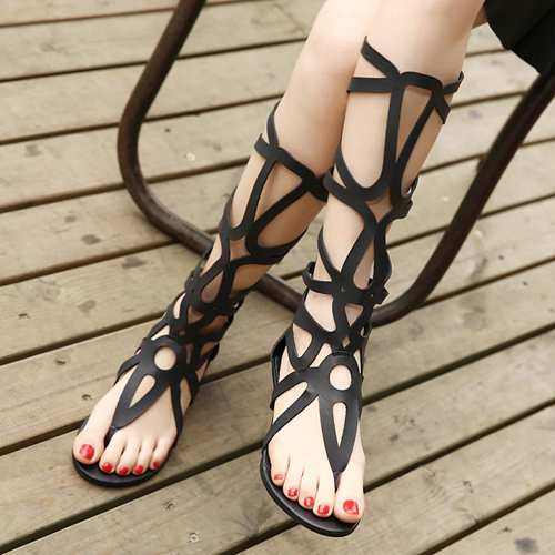 Fashion Clip Toe Hollow-out Flat Low Heel Black PU Gladiator Sandals