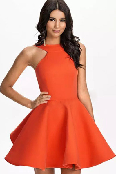 Cheap Sexy O Neck Tank Sleeveless Orange Polyester Mini Skater Dress