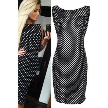 Cheap Sexy O Neck Spaghetti Strap Sleeveless Backless Polka Dots Print Black Polyester Sheath Mini Dress
