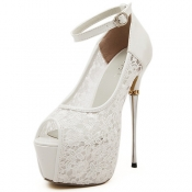 Cheap Fashion Round Peep Toe Hollow-out Lace Patch