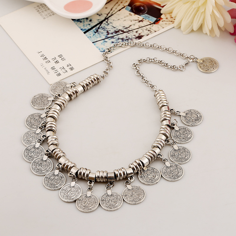 Cheap Retro Fashion Coin Tassel Shaped Metal Necklace