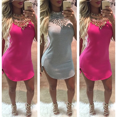 Cheap Fashion O Neck Short Sleeves Rose Blending Sheath Mini Dress