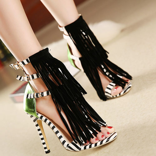 Trendy Peep Toe Patchwork Striped Tassels Decorated Stiletto Super High Heel Black PU Ankle Wrap Sandals