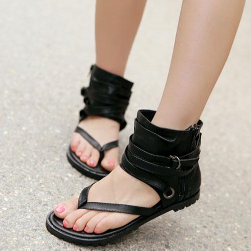 Повседневный Clip Toe Плоский низкий каблук черный PU сандалии