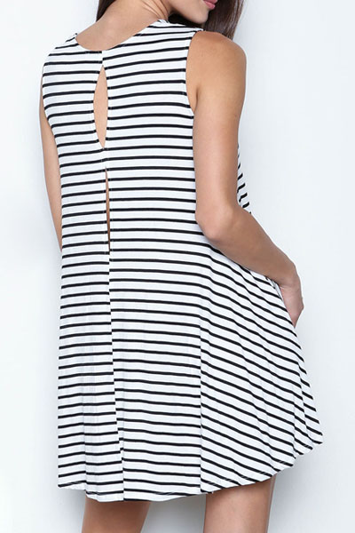 Fashion O Neck Tank Sleeveless Back Split Striped Blending A Line Mini Skater Dress