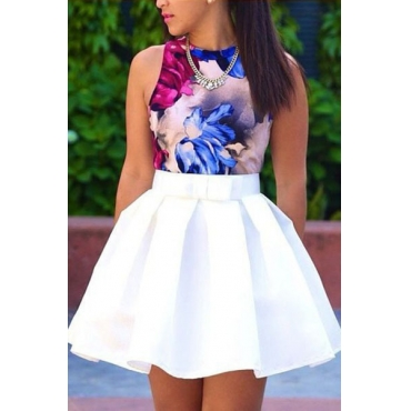 Fashion Print White Blending A Line Mini Pleated Skirt