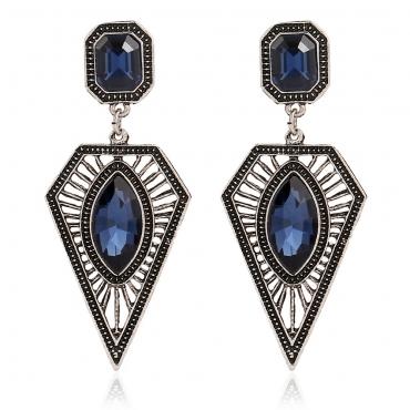 Fashion Rhinestone Embellished Geometrical Shaped Blue Metal Earring