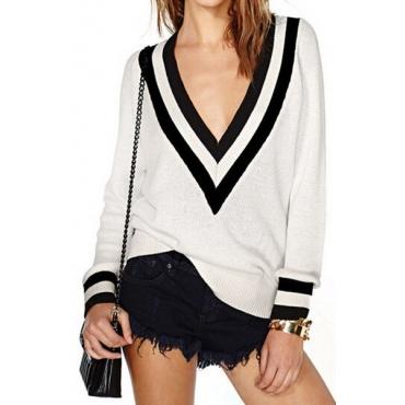 Fashion V Neck Long Sleeves Patchwork White Blending Regular Pullover Sweater