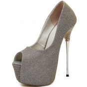 Fashion Round Peep Toe Stiletto Super High Heel Go