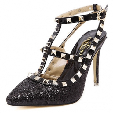 Fashion Round Closed Toe Stiletto Super High Heels Black PU T Strap Pumps
