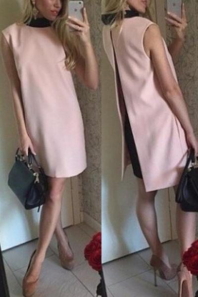 Fashion O Neck Tank Sleeveless Pink Blending A Line Mini Women Dress