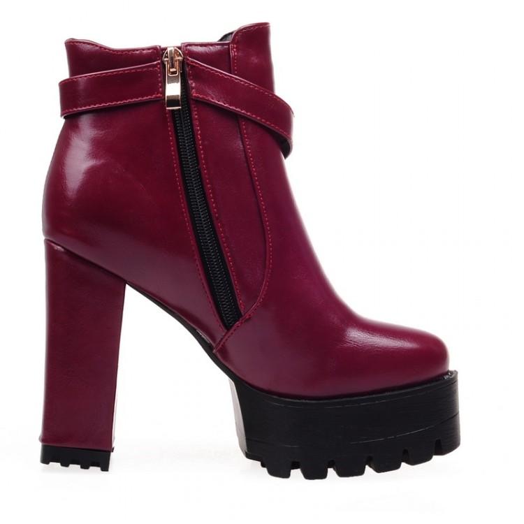 Зимняя мода раунда toe молния дизайн коренастый супер высокой красный Пу застежкой пятки