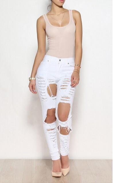 Casual Broken Holes Design Button Fly Design Solid White Blending Mid Regular Pants