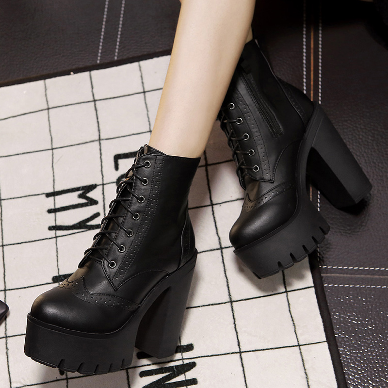 Spring Autumn Round Toe Lace-up Chunky Super High Heel Black PU ...