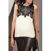 Fashion O Neck Sleeveless Lace Patchwork Blending