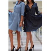 Fashion Turndown Collar Half Sleeves Black Polyest
