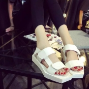 Fashion Flat Low Heel White PU  Sandals