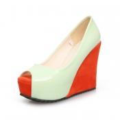 Fashion  Round  Peep Toe Super High Wedges Green P