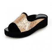 Casual Low Heel Golden PU Slippers