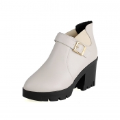 Fashion Pointed Closed Toe Chunky High Heel White