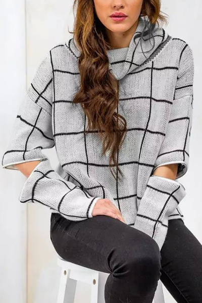 Fashion Turtleneck Long Sleeves Cut-out Plaids Print Grey Blending Regular Pullover Sweater