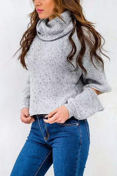 Fashion Turtleneck Long Sleeves Cut-out Grey Blending Regular Pullover Sweater
