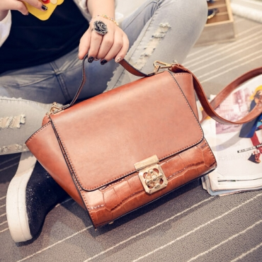 Fashion Hasp Desgin Brown PU Women Crossbody
