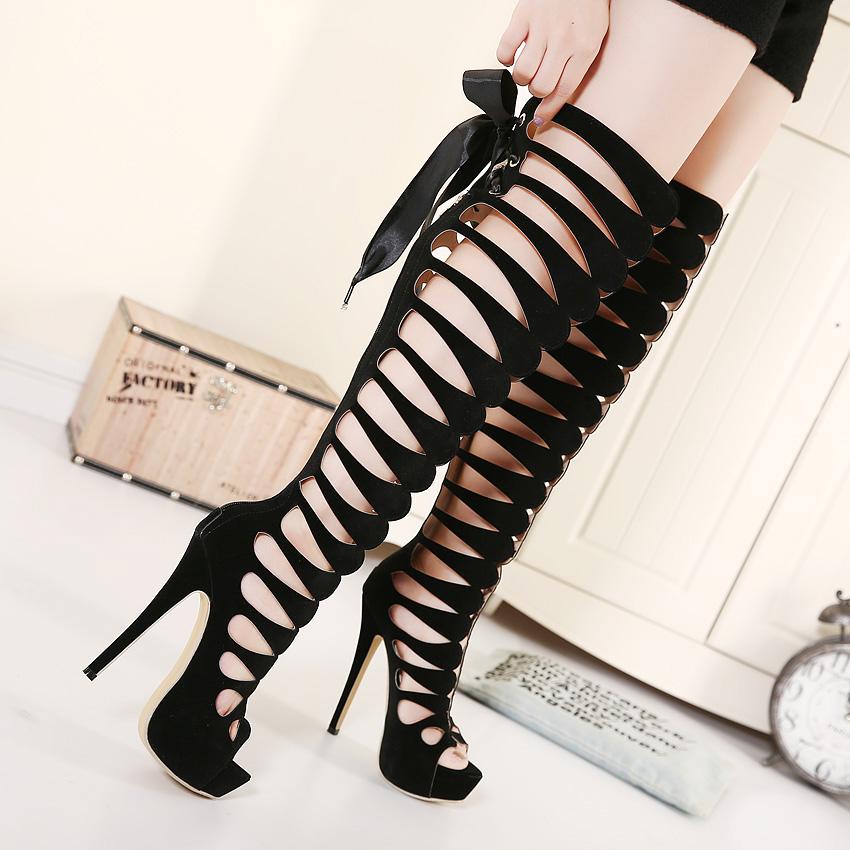 Super Fashion Round Peep Toe Cut-out Stiletto Super High Heel Black PU Basic Pumps