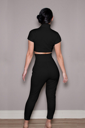 9de6db0782 Black Polyester Pants Solid V Neck Short Sleeve Sexy Two-piece Outfits  QJ140326434-1-1